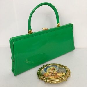 9c96af34c73 Vintage lime green patent handbag purse 1960's